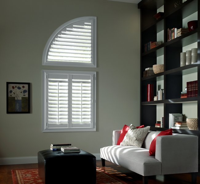 Call Blind Magic for quarter circle vinyl shutters in North Highlands, CA